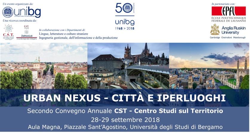 "Bergamo, 28-29/9/2018: ""Urban Nexus"" - Città e Iperluoghi"