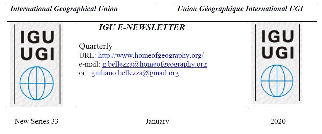 Newsletter IGU-IGU, gennaio 2020