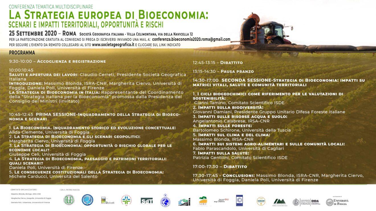 """Roma, 25/9/2020: """"La Strategia Europea di Bioeconomia"""" (aggiornamenti)"""