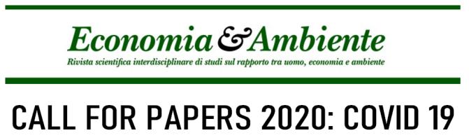 """Call for papers della Rivista Economia & Ambiente su """"Covid 19 e ripercussioni economiche, sociali e ambientali dirette e indirette"""""""