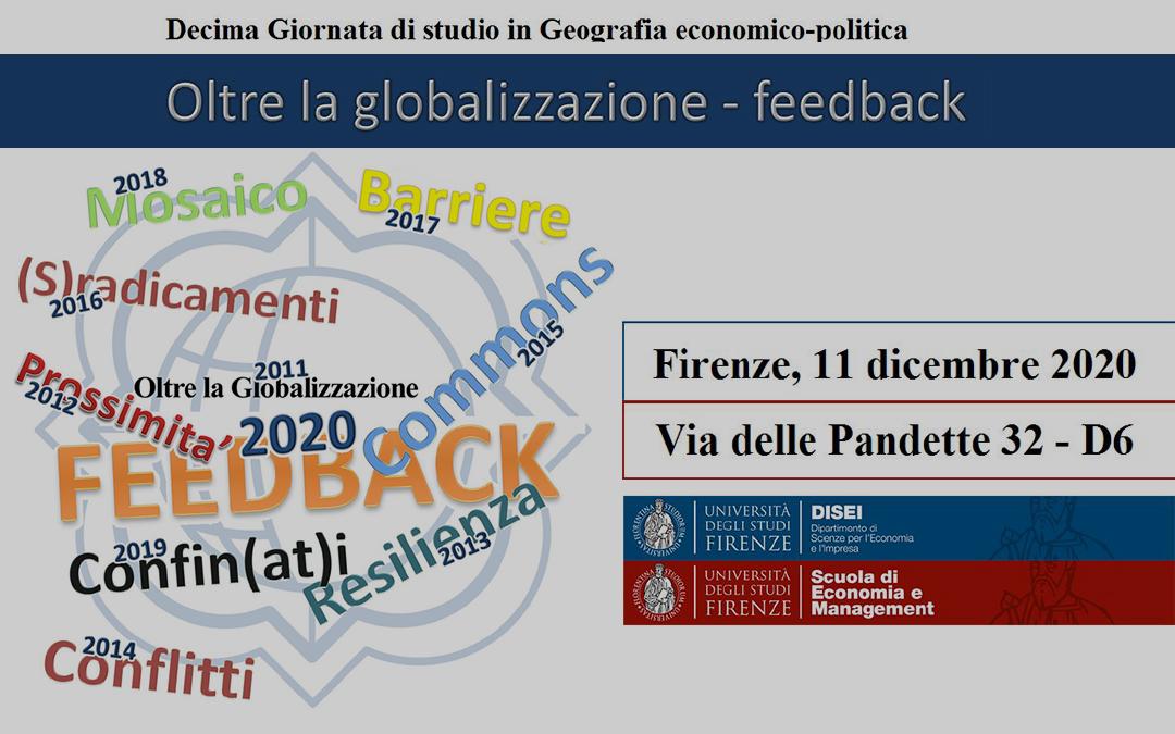 """Call for abstract alla Decima Giornata di Studio """"Oltre la globalizzazione- Feedback"""""""